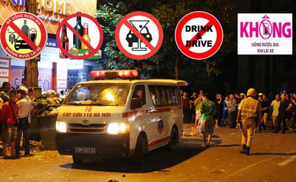 Tài xế điều khiển ôtô  sau khi đã uống bia nên gây ra vụ tai nạn chết người trên đường Láng, Hà Nội tối 22-4 - Ảnh: CHÍ TUỆ